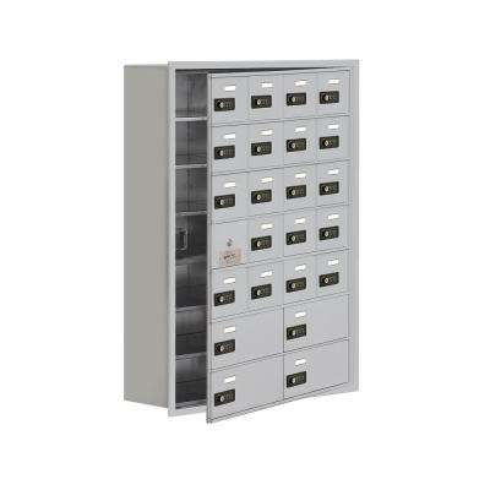 19100 Series 29.25 in. W x 40.75 in. H x 8.75 in. D 23 Doors Cell Phone Locker Recess Mount Resettable Lock in Aluminum