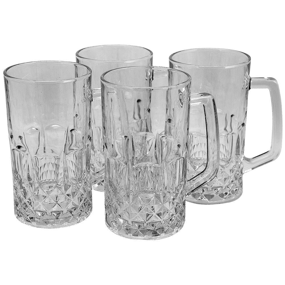 Jewelite 4-Piece 21 oz. Glass Beer Mug Set