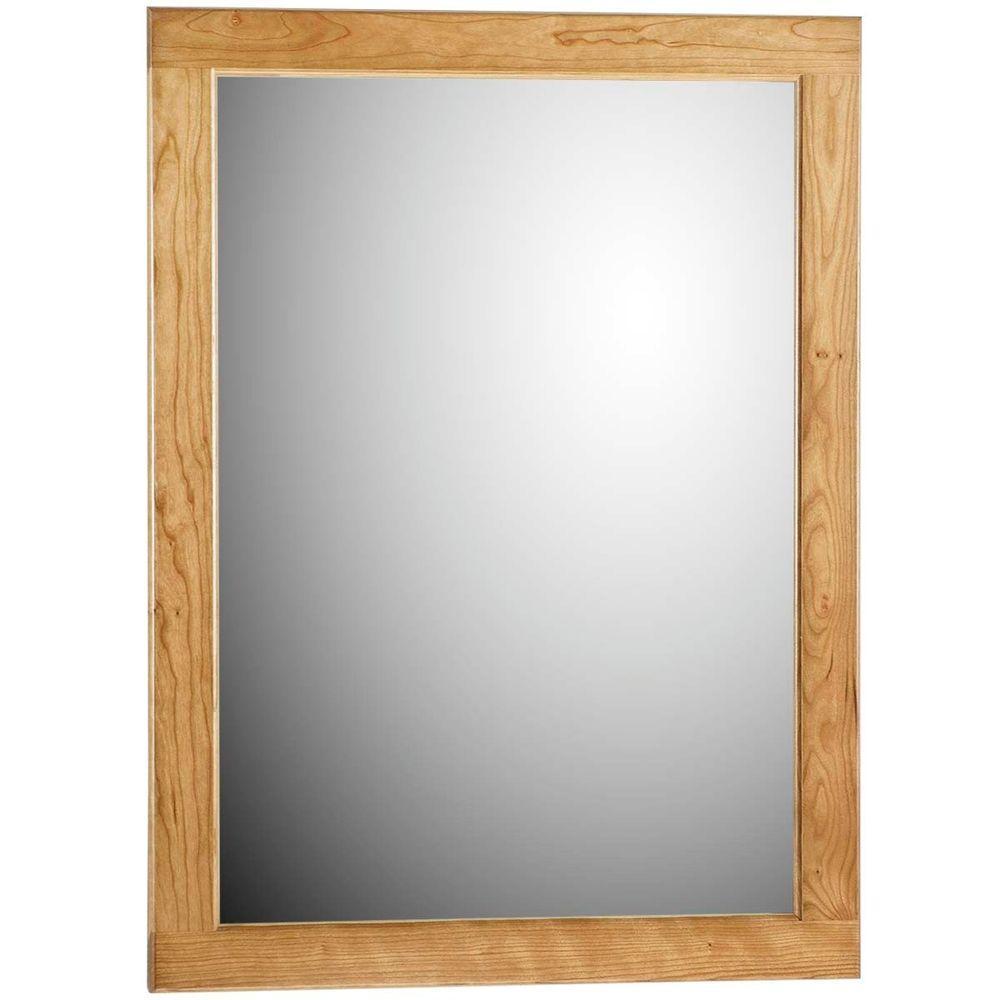 Ultraline 24 in. W x 32 in. H Framed Rectangular Bathroom Vanity Mirror in Natural alder finish