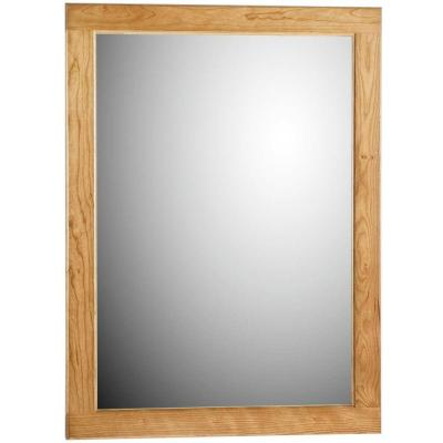 Ultraline 24 in. W x .75 in. D x 32 in. H Framed Wall Mirror in Natural Alder