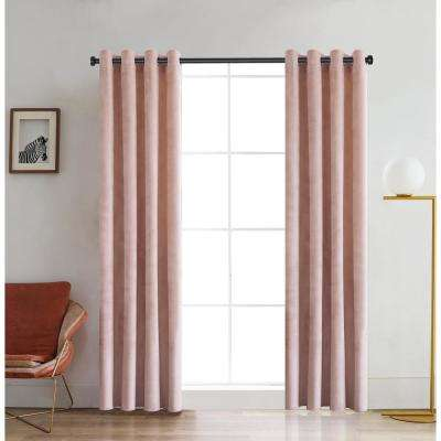 Regency Semi-Opaque Room Darkening Polyester Curtain in Blush - 54 in. L x 52 in. W