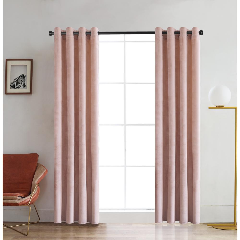 Regency 84 in. L x 52 in. W Semi-Opaque Room Darkening Polyester Curtain in Blush