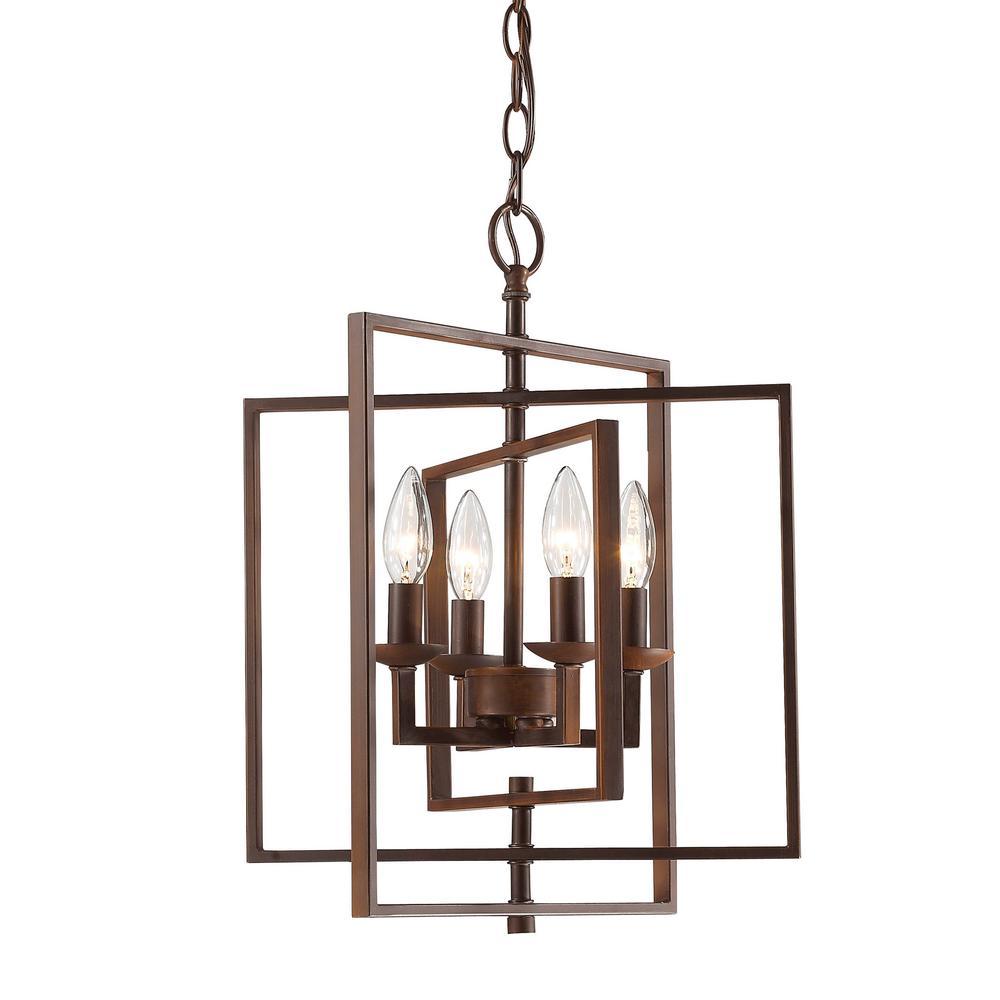 14 in. 4-Light Rubbed Bronze Outdoor Pendant