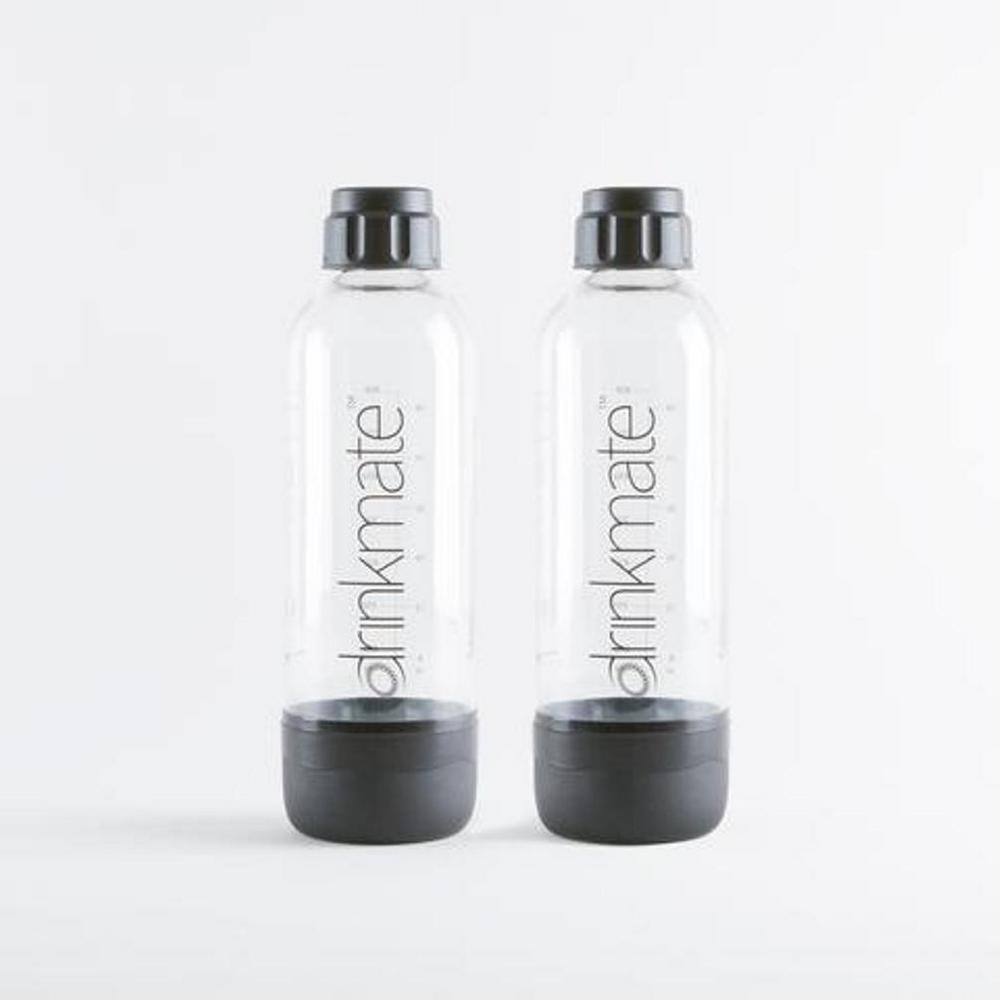 DrinkMate 1 l Carbonating Bottles in Black (2-Pack) DrinkMate 1L bottles let you easily make and save multiple servings of any carbonated beverage. Twin pack of 2-bottles and caps included. These long life bottles will last up to 3-years, depending on amount of use. Color: Black.