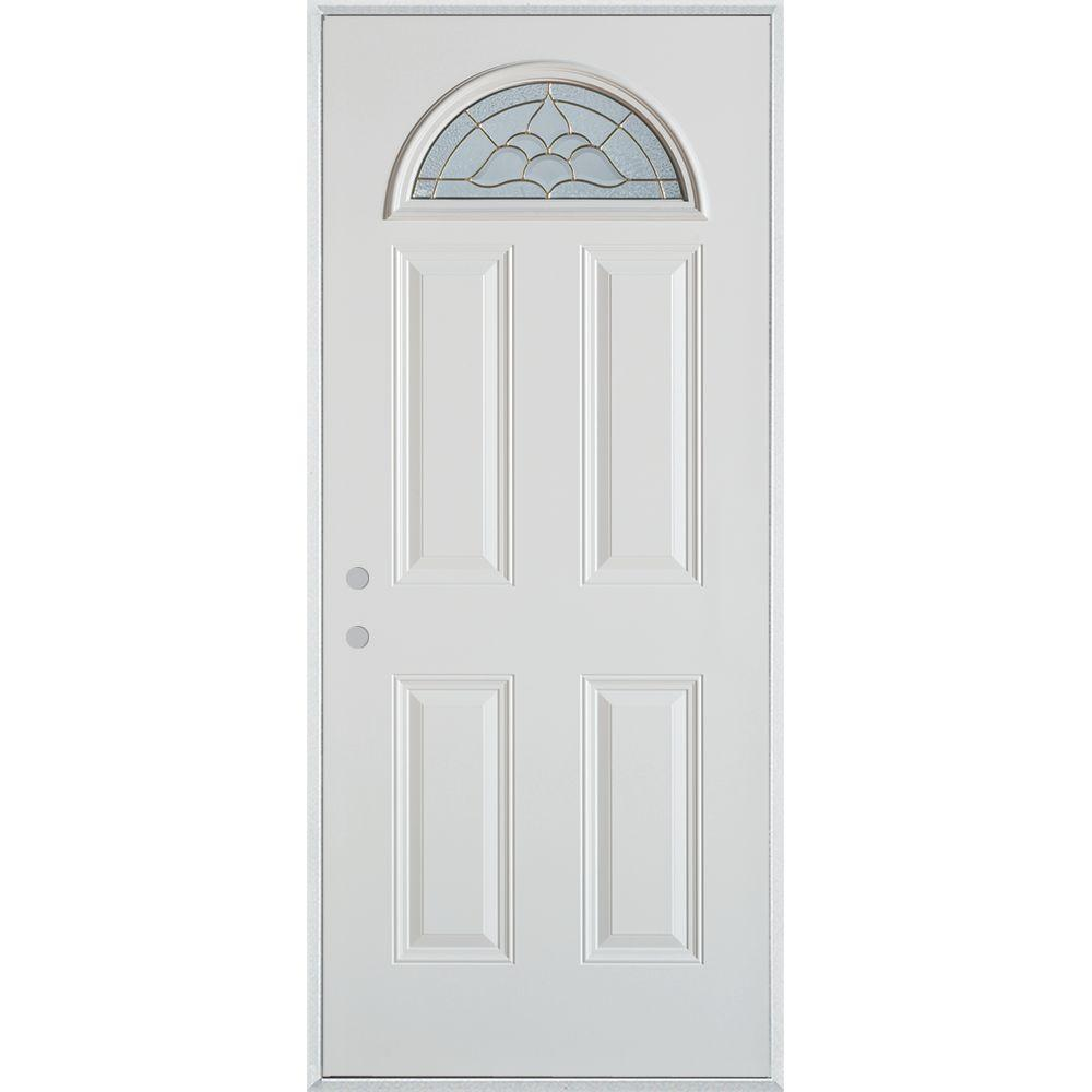 Stanley doors 37375 in x 82375 in traditional brass fan lite 4 stanley doors 37375 in x 82375 in traditional brass fan lite 4 panel prefinished white right hand inswing steel prehung front door 1109f f 36 r the rubansaba