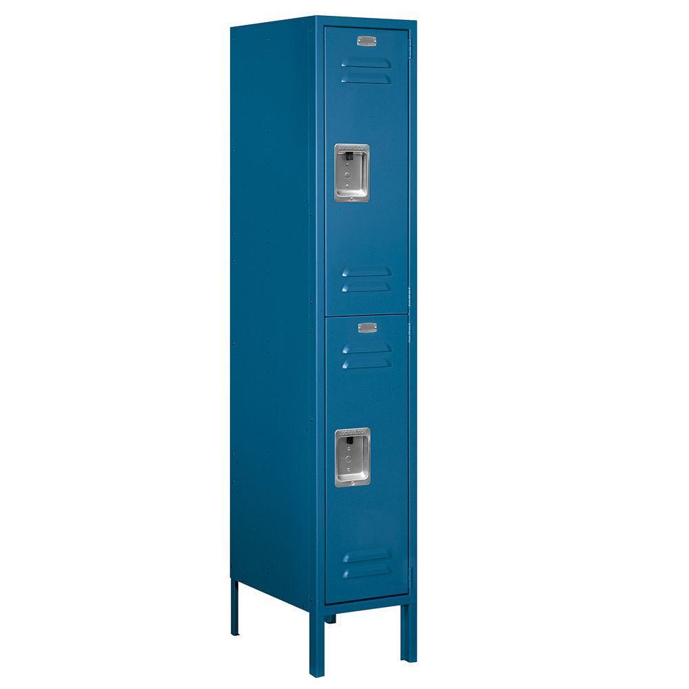 Salsbury Industries 62000 Series 12 in. W x 66 in. H x 18 in. D 2-Tier Metal Locker Assembled in Blue