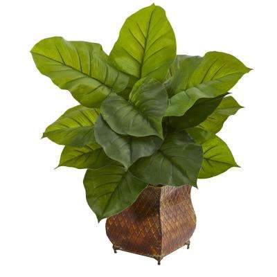 Real Touch Indoor Large Leaf Philodendron Artificial Plant in Metal Planter