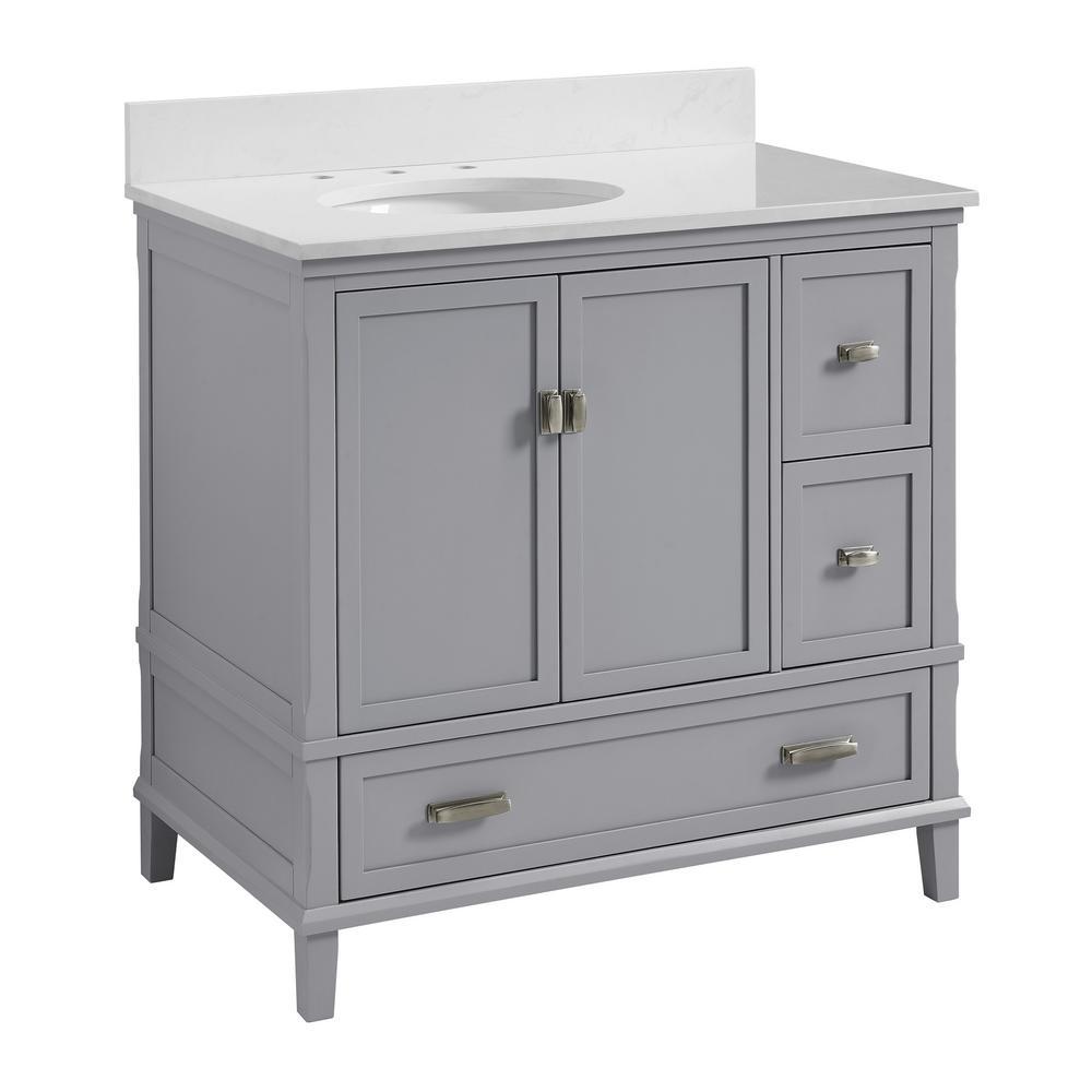 Irving 36 in. W Bath Vanity in Gray with Ocean Mist Engineered Stone Vanity Top with Pre-Installed Porcelain Basin