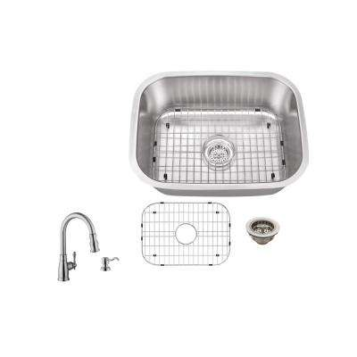 Undermount 23 in. 18-Gauge Stainless Steel Bar Sink in Brushed Stainless with Arc Kitchen Faucet
