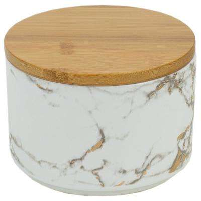 Marble Ceramic Small Canister with Bamboo Lid