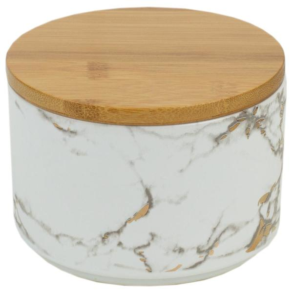 Home Basics Marble Ceramic Small Canister with Bamboo Lid CS41971