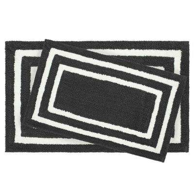 Reversible Cotton Soft Double Border Gun Metal 2-Piece Bath Mat Set