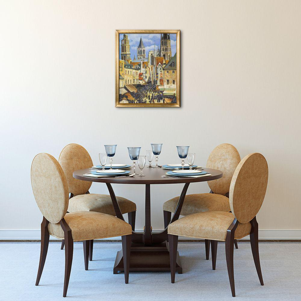 La Pastiche 23 in. x 27 in. The Old Market at Rouen and the Rue de l'Epicerie with Frame by Camille Pissarro Framed Wall Art, Multi-Colored was $700.0 now $347.86 (50.0% off)