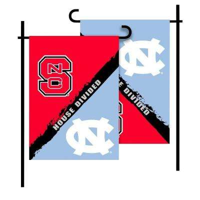 NCAA North Carolina-NC State House Divided 1 ft. x 1.5 ft. Collegiate 2-Sided Garden Flag with Pole #11213