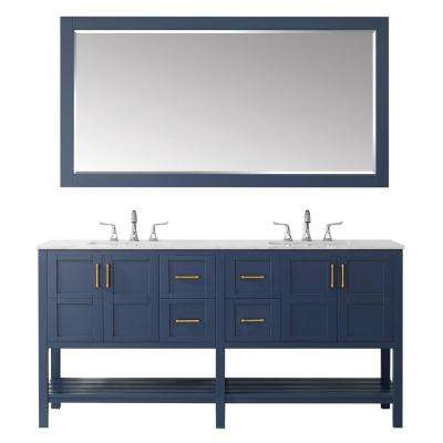 "Florence 72"" Vanity in RoyalBlue with Carrara White Marble Countertop With Mirror"