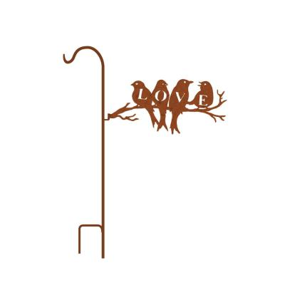 50 in. Tall Yellowish Brown Rust Steel Shepherd's Hook with Love Birds on Branch