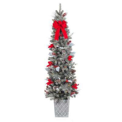 75 in. Pre-Lit Snowy Pine Porch Artificial Tree with 100 Clear Battery Operated LED Lights and Timer Function