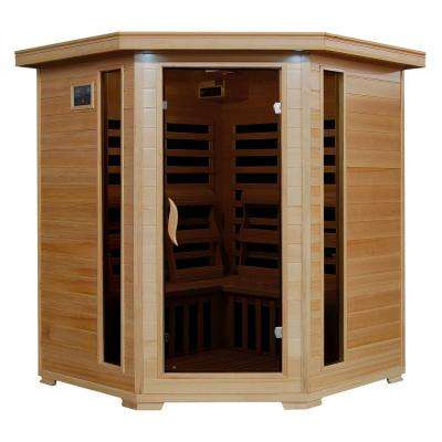 4-Person Hemlock Corner Infrared Sauna with 10 Carbon Heaters