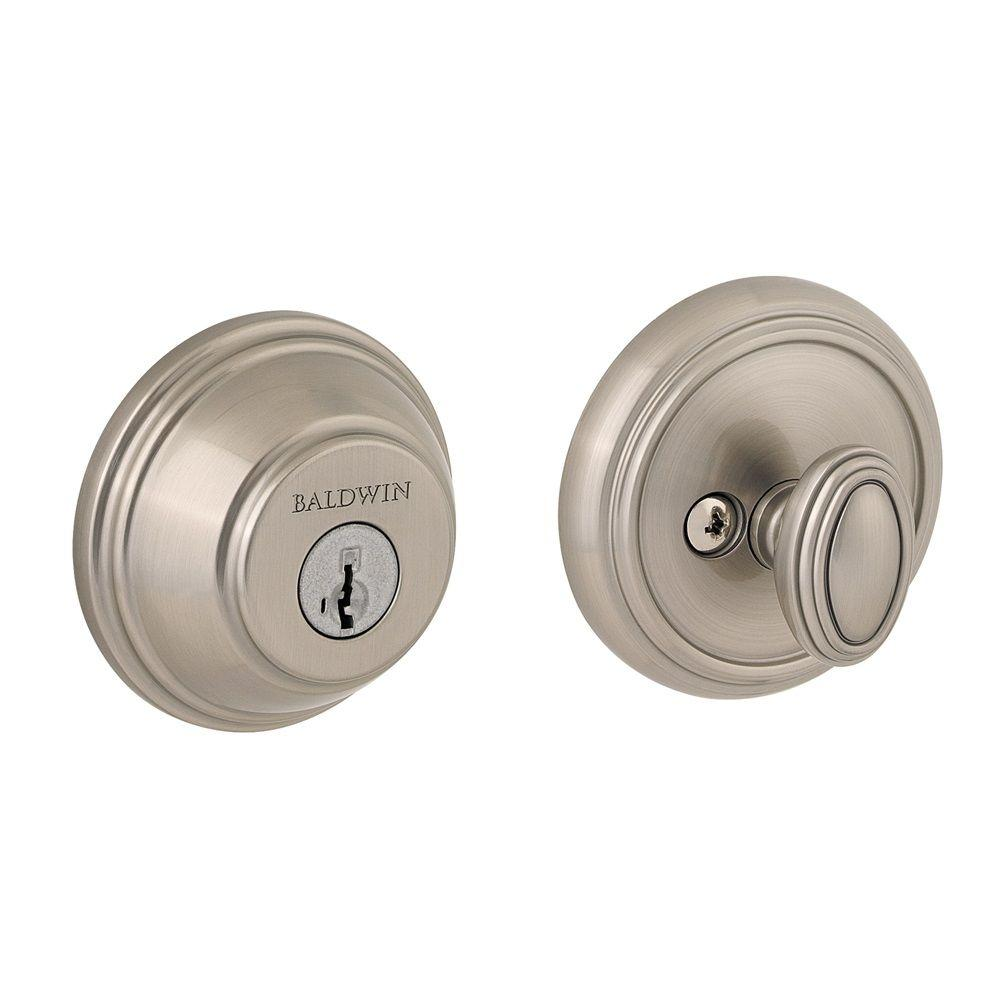 Prestige Satin Nickel Single Cylinder Round Deadbolt Featuring SmartKey Security