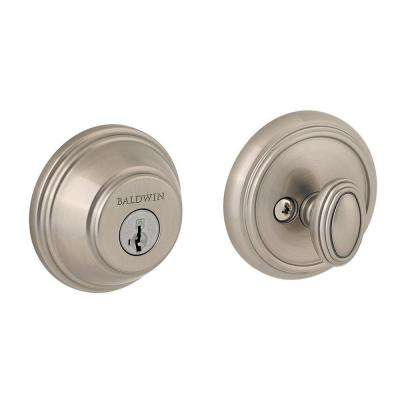Prestige Single Cylinder Satin Nickel Round Deadbolt featuring SmartKey
