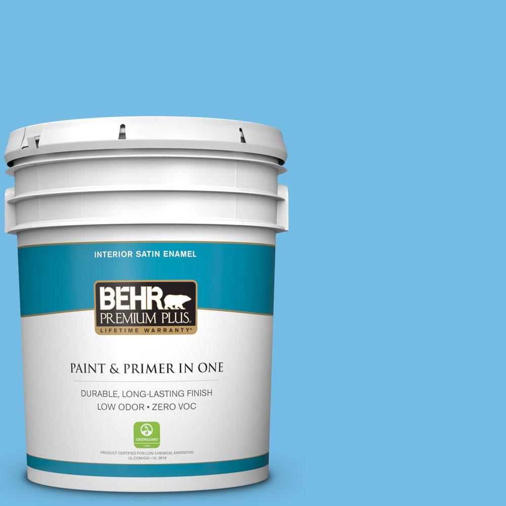 5-gal. #550B-4 Costa Rica Blue Zero VOC Satin Enamel Interior Paint