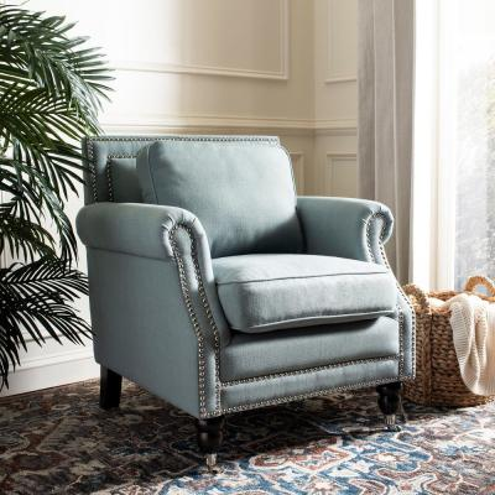 Karsen Sky Blue Cotton Blend Club Arm Chair