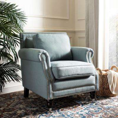 Karsen Sky Blue Cotton Blend Club Arm Chair