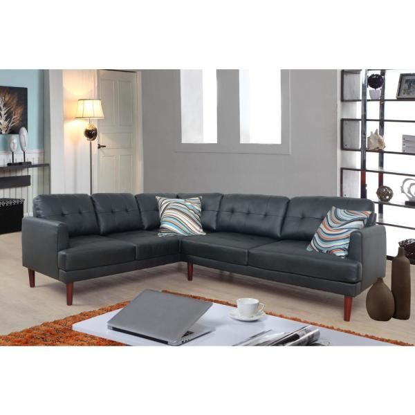 Black Faux Single Line Tufted Leather Sectional Sofa Set (2-Piece ...
