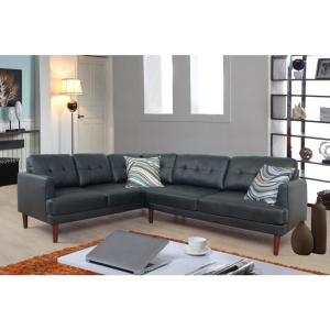 Black Faux Single Line Tufted Leather Sectional Sofa Set (2-Piece)