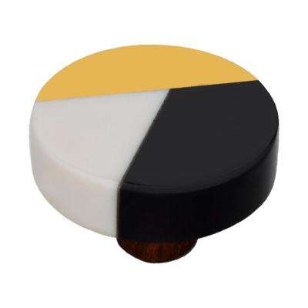 Fusion 1-1/2 in. Black and White Round Cabinet Knob