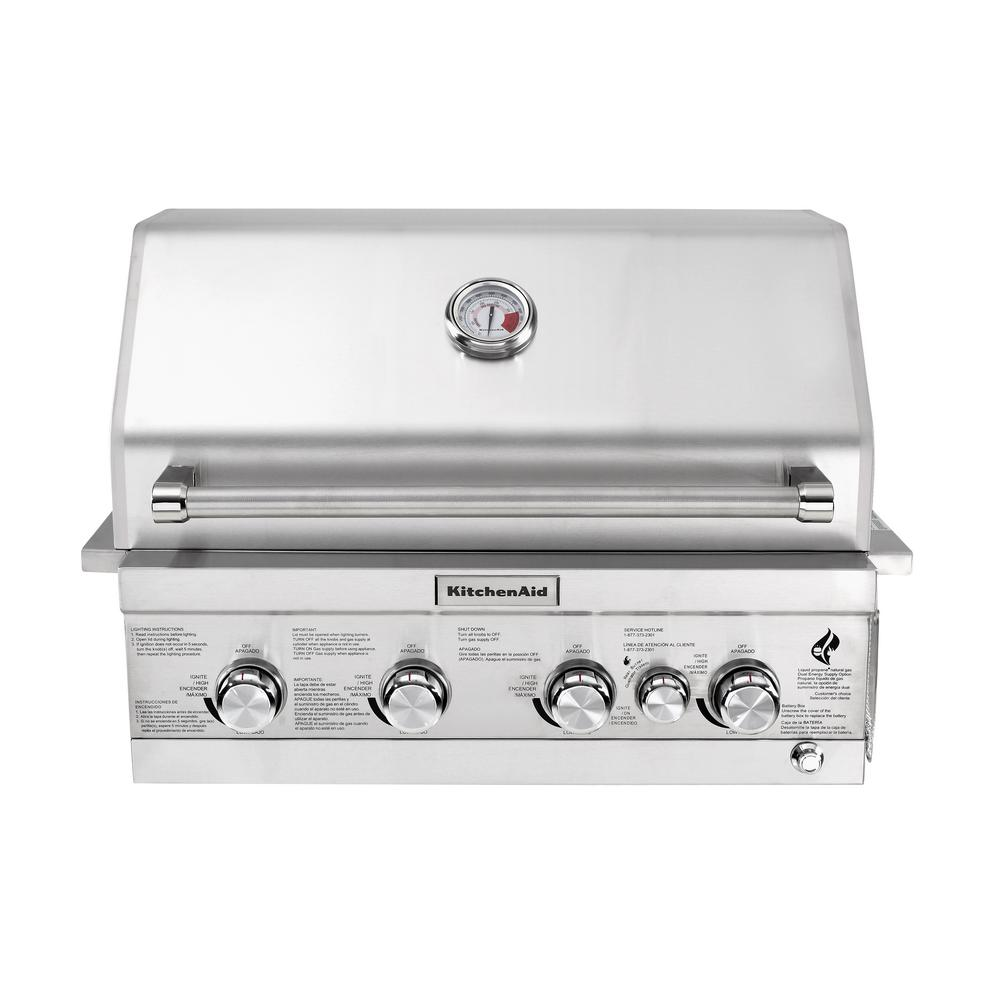 4-Burner Built-in Propane Gas Island Grill Head in Stainless Steel with