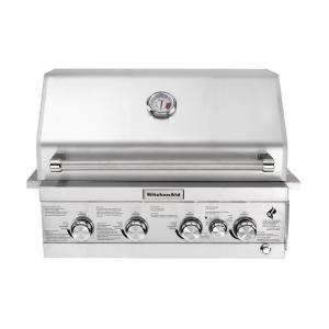 Click here to buy KitchenAid 4-Burner Built-in Propane Gas Island Grill Head in Stainless Steel with Rotisserie Burner by KitchenAid.