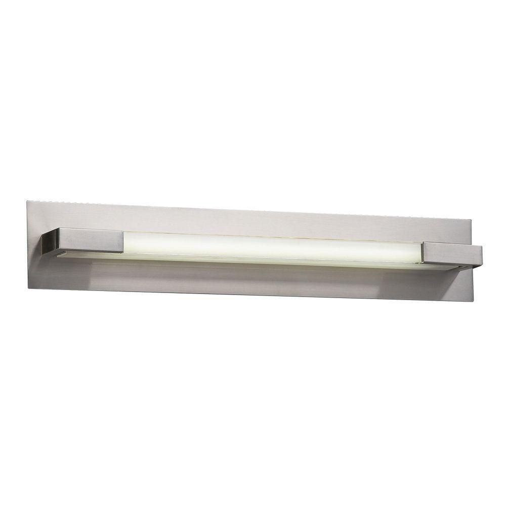 PLC Lighting 1-Light Satin Nickel Bath Vanity Light with Frost Glass