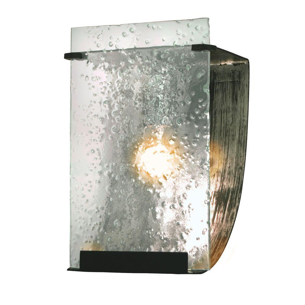 Varaluz Rain 1-Light Rainy Night Bath Vanity Light with Recycled Hand-Pressed Rain Glass