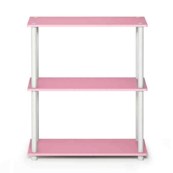 29.5 in. Pink/White Plastic 3-shelf Etagere Bookcase with Open Back