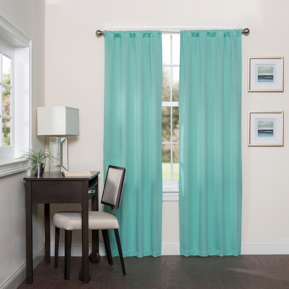 Room Darknening Mint Smooth Polyester Rod Pocket Curtain (1-Pair)