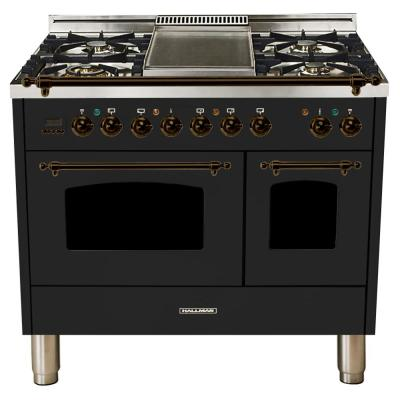 40 in. 4.0 cu. ft. Double Oven Dual Fuel Italian Range True Convection, 5 Burners, Griddle, Bronze Trim in Glossy Black