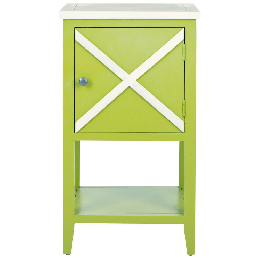 Safavieh Ward Lime Green and White Storage Side Table
