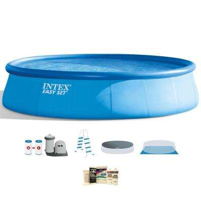18 ft. W x 48 in. H x 48 in. D Inflatable Easy Set Pool with Ladder, Pump, and Winterizing Kit