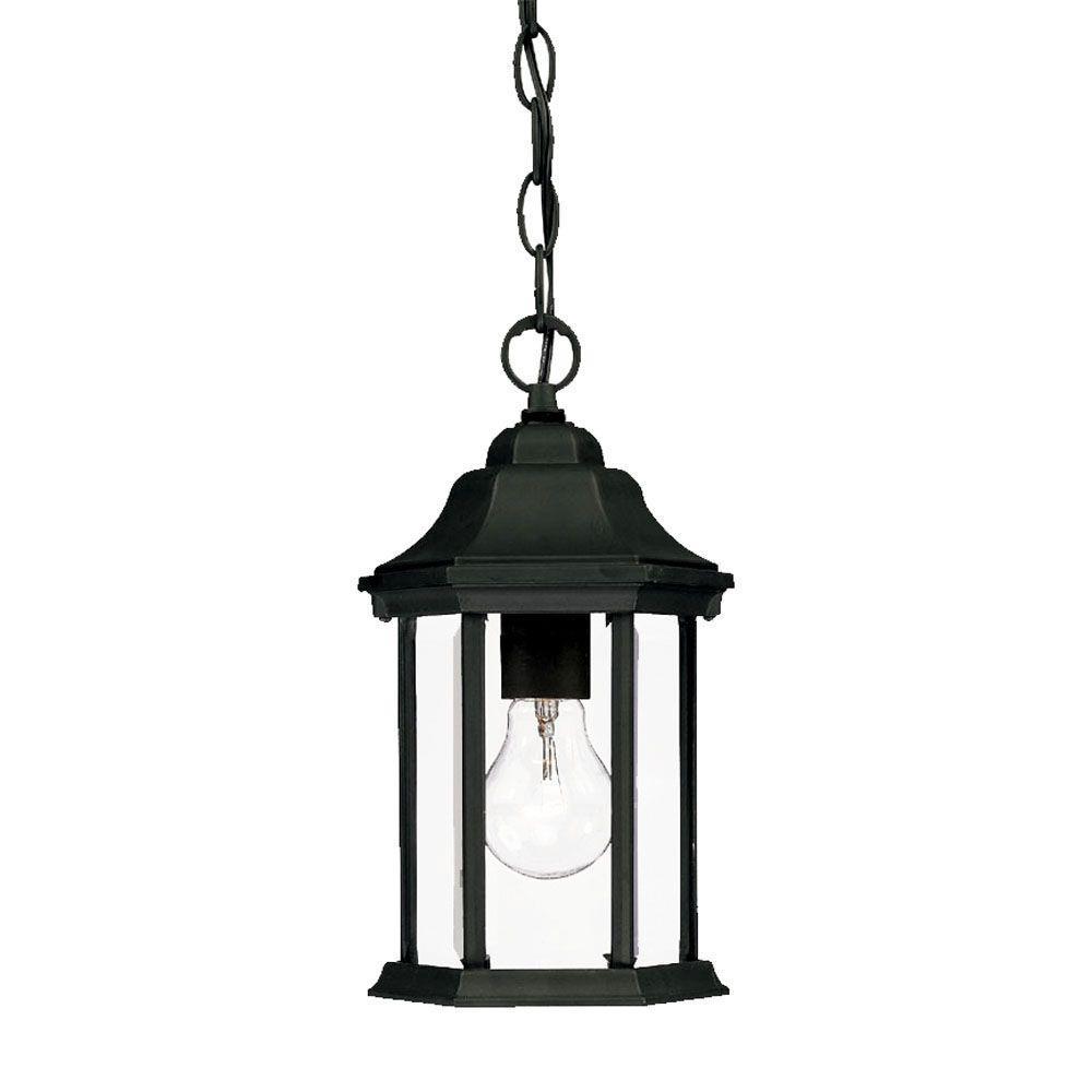 Madison Collection 1-Light Matte Black Outdoor Hanging Lantern