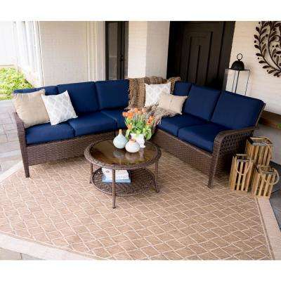 Bessemer 5-Piece Wicker Outdoor Sectional Set with Navy Cushions