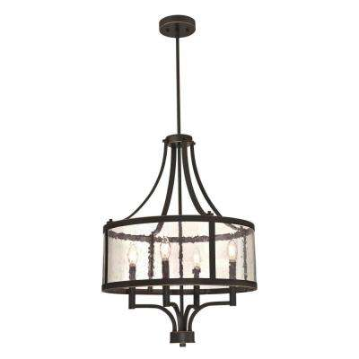 Belle View 4-Light Oil Rubbed Bronze with Highlights Chandelier with Clear Seeded Glass