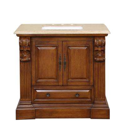 38 in. W x 23 in. D Vanity in Cherry with Stone Vanity Top in Travertine with White Basin