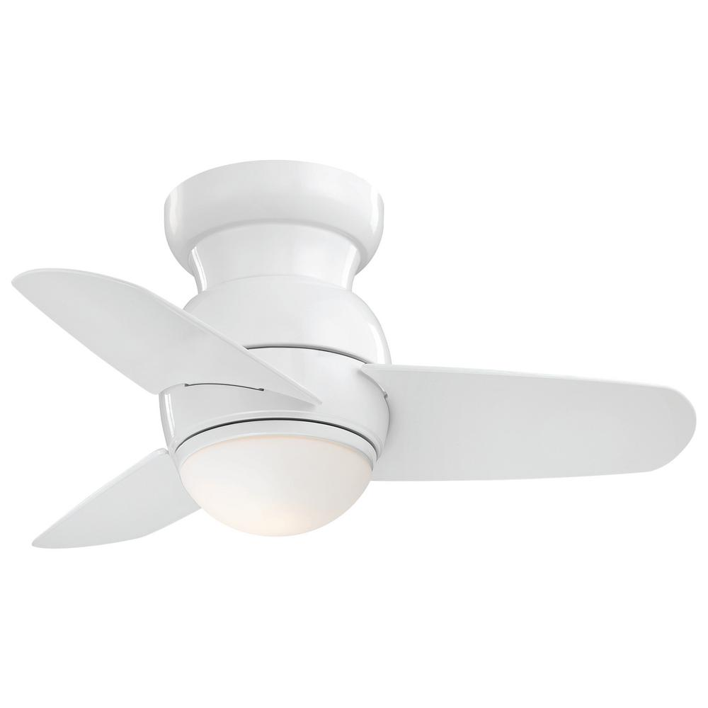 Minka-Aire Spacesaver 26 in. Integrated LED Indoor White Ceiling Fan with Light with Wall Control
