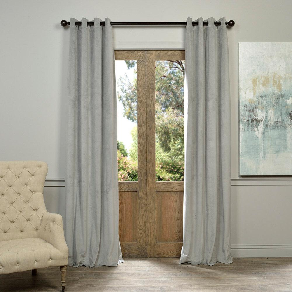 Exclusive Fabrics & Furnishings Blackout Signature Silver Grey Grommet Blackout Velvet Curtain - 50 in. W x 96 in. L (1 Panel)