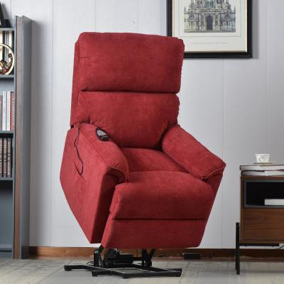 Red Power Lift Chair with Massage Soft Fabric Upholstery Recliner Chair with Remote