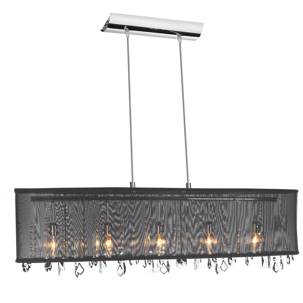 5-Light Polished Chrome Chandelier with Black Organza Shade
