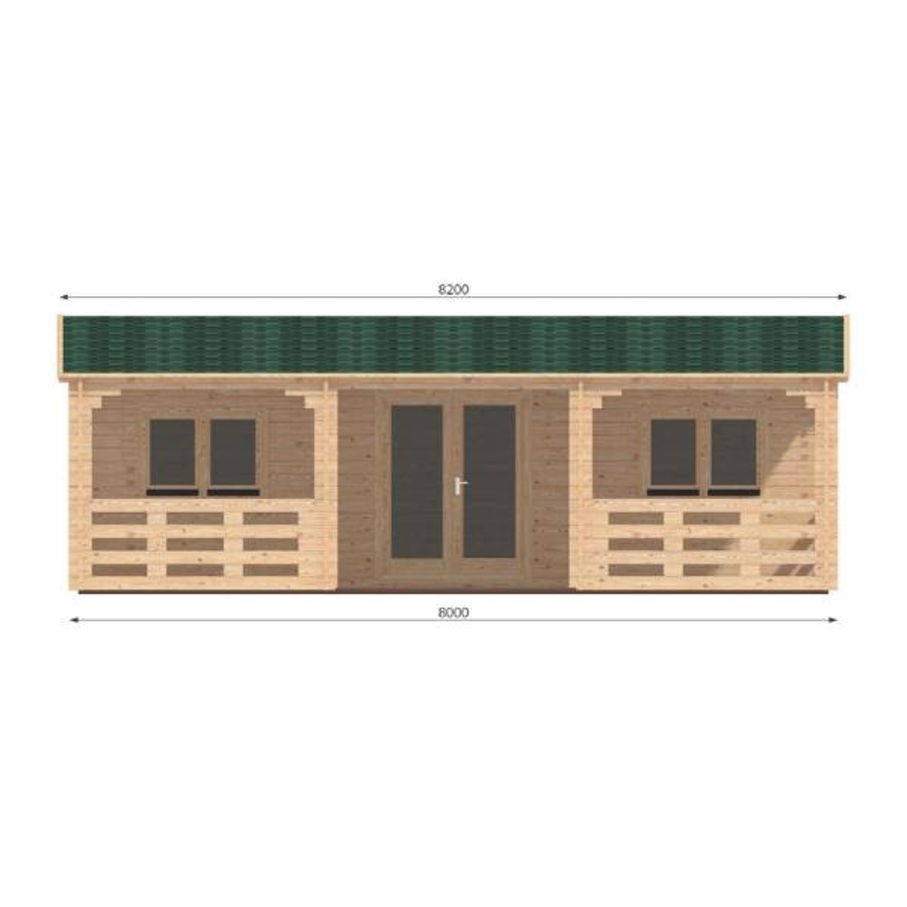Lama J44 26 ft. x 14 ft. with 26 ft. x 8 ft. porch Log Cabin Chalet building kit