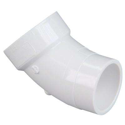 3 in. PVC DWV 45 Degree Spigot x Hub Street Elbow