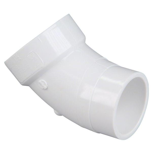 4 in. PVC DWV 45-Degree Spigot x Hub Street Elbow Fitting